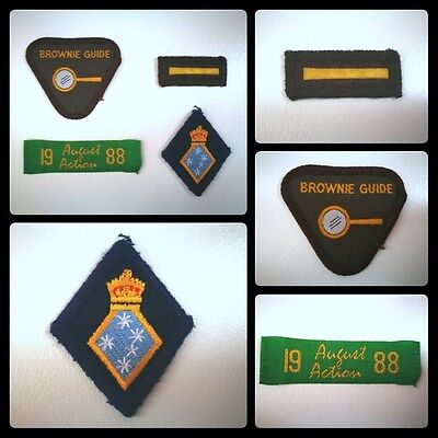 4x 1980s Brownie Girl Guide Proficiency Cloth Badges - Collector Seconder -LOT 1
