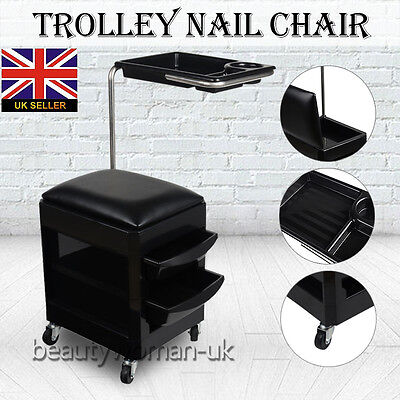 2in1 Stool Trolley Mobile Nail Pedicure Manicure Chair Station salon beauty