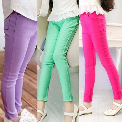 Kids Girls Stretch Skinny Pants Candy Color Casual Trousers Elastic Waist 4-10Y