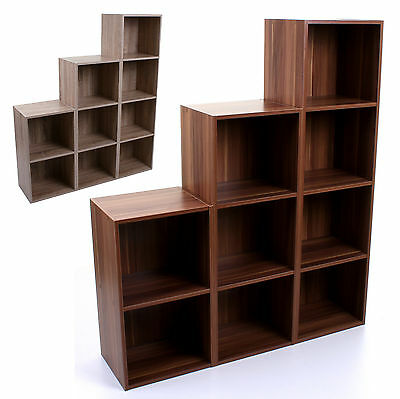 2 3 4 Tier Wooden Bookcase Shelving Display Storage Unit Cube Wood Shelves Shelf