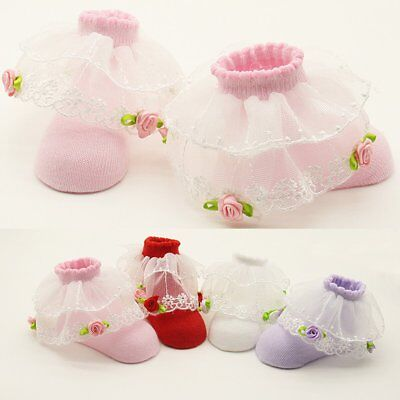 Cute Newborn Baby Girl Boy Anti-slip Cotton Lace Socks Slipper Shoes Boots 0-12M
