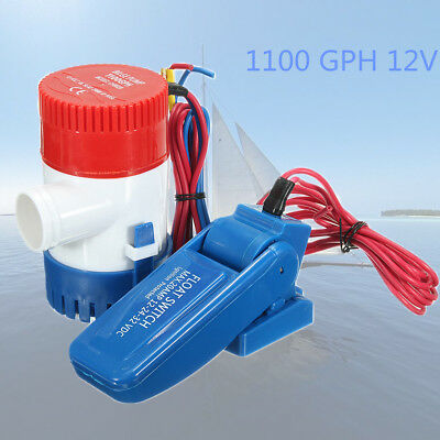 1100 GPH 12V Fully Submersible Boat Bilge Water Pump+Float Switch For Yacht RV
