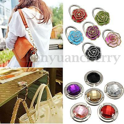New Portable Crystal Purse Handbag Hook Hanger Bag Holder Foldable Folding USA