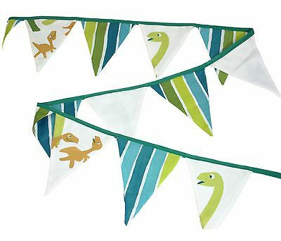 Boys Green Dinosaur Fabric Bunting ~ 3 Metres ~ Bedroom/party Bunting