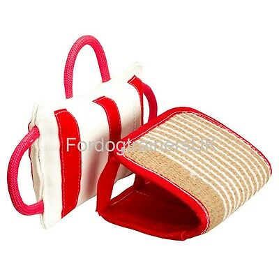 Dog Bite Pad with 3 Handles and Adjustable Jute Cover | Jute Pad Bite Builder