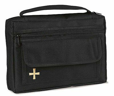 Embroidered Cross Bible Cover Black (TS495) NEW
