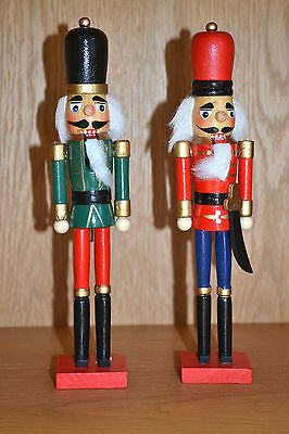 Wooden Nutcracker Painted Christmas Ornament Red Green Soldier