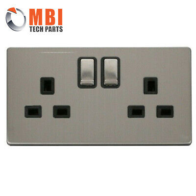 Click Definity Stainless Steel 13A 2G Twin Switched Socket Flatplate Screwless