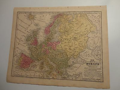 1847 Hand Colored Engraved Map of Europe - Mitchell's Atlas