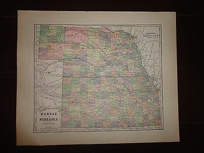 Antique colored map of the States of Kansas & Nebraska, 1893 Columbian Atlas