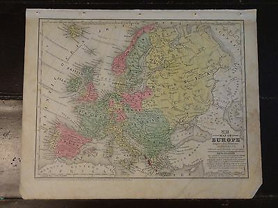 1840 Hand Colored Antique Engraved Map of Europe from Mitchell's Atlas