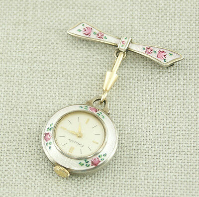 925 Silver Enamelled ART DECO Ladies Antique brooch Pocket Watch Uhr wristwatch