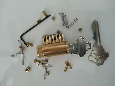 Cutaway Lock Cylinder For Locksmith Practice and Training. 6 Pin Schlage Keyway