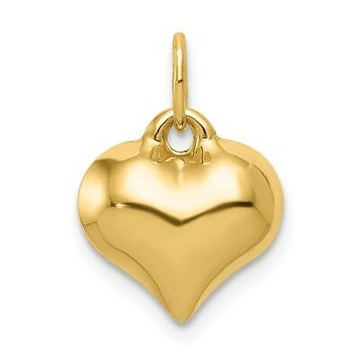 14K Yellow Gold Polished 3-D Puffed Puff Heart Pendant Charm  0.63 Inch