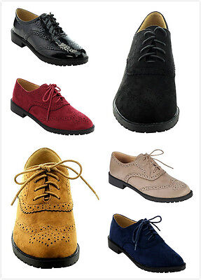 Brand New Women's Fashion Lace Up Low Chunky Heels Casual Oxford Shoes