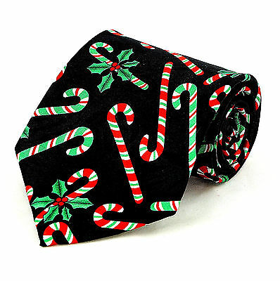 Holly Candy Canes Mens Necktie Christmas Neck Tie Holiday Novelty Xmas Gift New