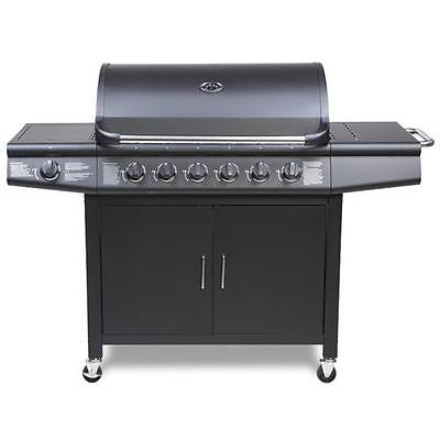 CosmoGrill 6+1 Gas Burner Grill BBQ Barbecue incl. Side Burner - Black 77 x 42cm