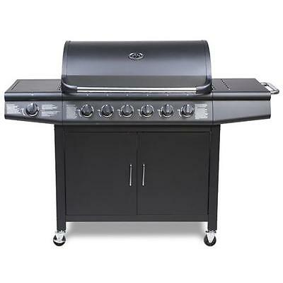 FirePlus 6+1 Gas Burner Grill BBQ Barbecue incl. Side Burner - Black 77 x 42cm