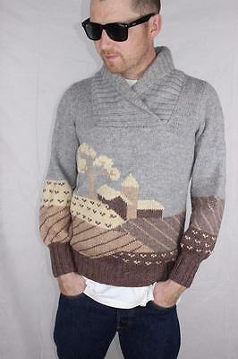 Vintage 80s Mens COUNTRY FARMHOUSE High Neck ELECTRO KNITTED JUMPER Rad