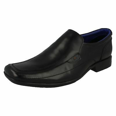 Mens Black Leather Slip-On Shoes By Lambretta 20287