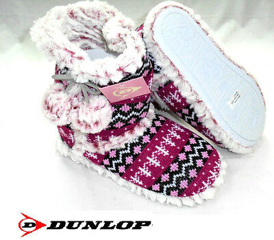 Ladies Dunlop Knitted Bootee Slippers Fair Isle Warm Ankle Boot Size 3/4 5/6 7/8