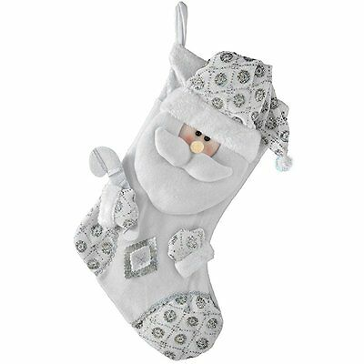 WeRChristmas 48 cm Christmas Stocking with 3D Father Christmas Head Decoration