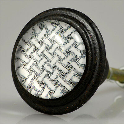 4 PIECES Cabinet Knobs Vintage Black w. Glass Inlay - Weave