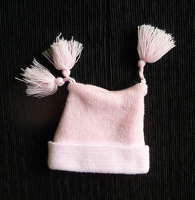 Baby clothes GIRL 0-3m warm, soft acrylic pink tassles striped edge hat SEE SHOP