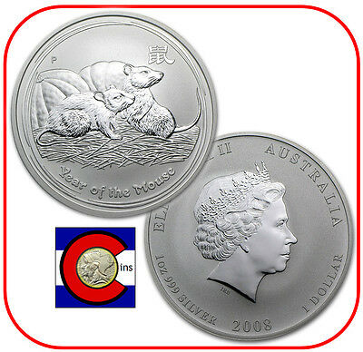 2008 Lunar Mouse 1 oz Silver, Series II from Perth Mint in Australia