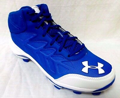 Under Armour Heater Mid TPU Baseball Cleats Size 6.5 Blue/White 1246695-411[BX2]