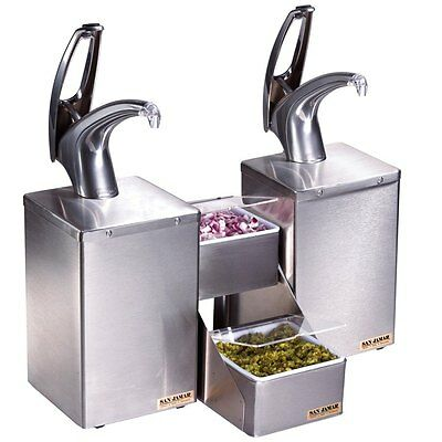 San Jamar (P4826BK) Dual Pump Condiment System with Stepped Trays