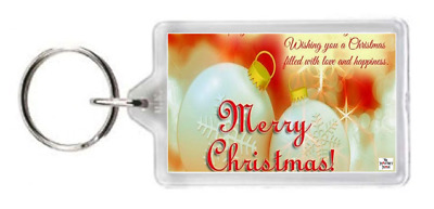 Happy Merry Christmas Filled Love Happines Quote Saying Gift Keyring