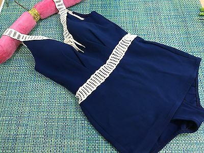 Vtg Rose Marie Reid Navy Blue One Pc Swimsuit Pinup W/ White Straps Size 12