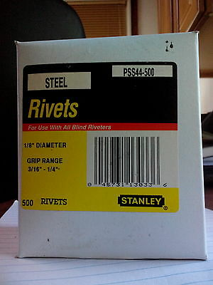 Pack of 100 Stanley Pss44-1B 1//8 Inch X 1//4 Inch Steel Rivets,Pack of 100