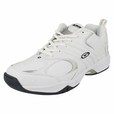 Mens ARGON White/navy Coated leather lace up trainers by Hi Tec