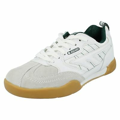 Mens Squash Classic white/green leather lace up trainer by Hi-Tec