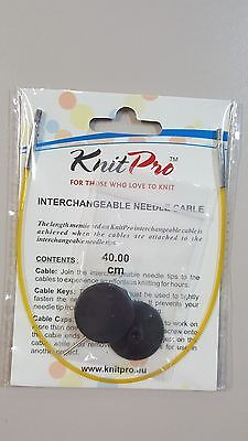 Knit Pro Cable Cord Yellow 40cm for Circular Knitting with End Caps N010631