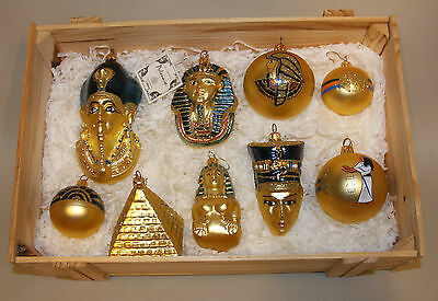 Kurt Adler Polonaise Glass Ornaments in Crate Gold Egyptian Collection 9 GP500