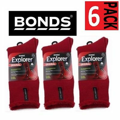 6 PACK x BONDS EXPLORER ORIGINAL THICK WOOL BLEND REGIMENTAL RED SOCKS SIZE 6-10