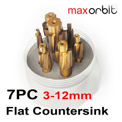 7PC M3-M12 Flat Countersink Guide Milling Cutter Deburring Chamfering 4 Flutes
