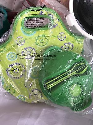 Tupperware 1.5L Salad on the Go Lunch Set Bowl & Insulated Bag Blue & Green New!