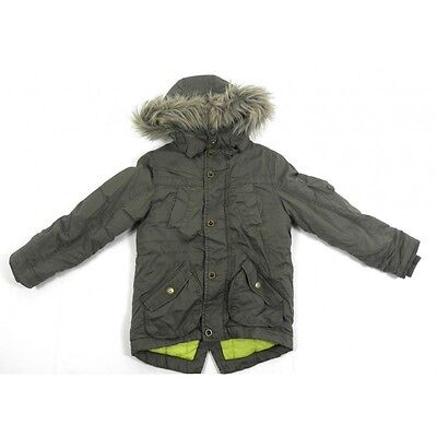 Girls School Fur Hooded Green Khaki Thick Winter Parka Coat Jacket 5 - 14 Years