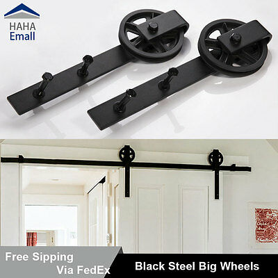 5-16FT Sliding Barn Door Hardware Track Kit Black Wheel Hanger Steel Closet Set