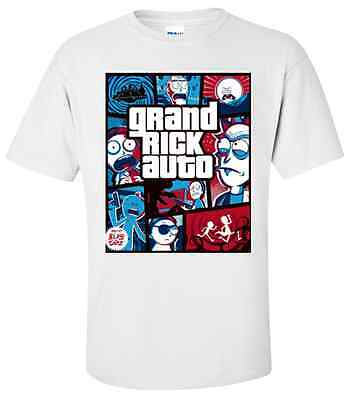 "RICK AND MORTY ""GTA"" T-Shirt Sizes SMALL, MEDIUM & LARGE"