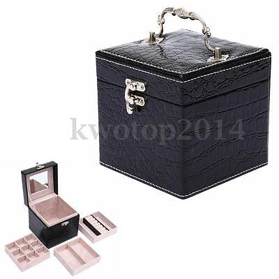 Jewelry PU Leather Mirror Box Storage Organizer Case for Ring Earring Necklace