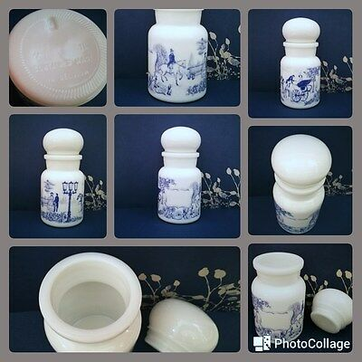 1970s Blue & White Belgian Milk Glass Canister Apothecary Lidded Spice Jar