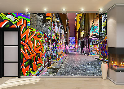 Night view -Graffiti Artwork Wall Mural Photo Wallpaper GIANT DECOR Paper Poster