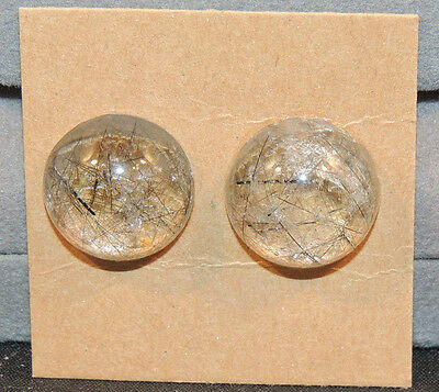 Black Rutilated Quartz Cabochons 16mm with 8mm dome Set of 2 (11184)