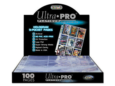 Ultra Pro Platinum Hologram Trading Card 9 Pocket Sleeves Sealed Box 100 Pages