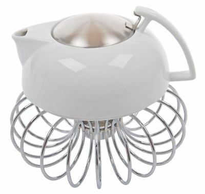 Benzer - White 2020 Giorgio 800ml Teapot with Wire Warmer Gift Boxed